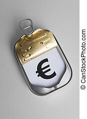 Can and Euro Sign, Concept of easy and timely financial assistance