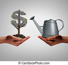 Financial assistance and business help concept as two hands holding a watering can and a struggling money tree as a budget aid relief symbol for investing in growth support service and helping a struggling economy.