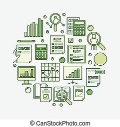 Financial audit circular illustration