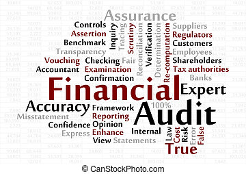 Financial Audit word cloud with data sheet background