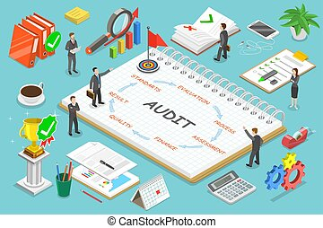 Financial audit flat isometric vector concept.