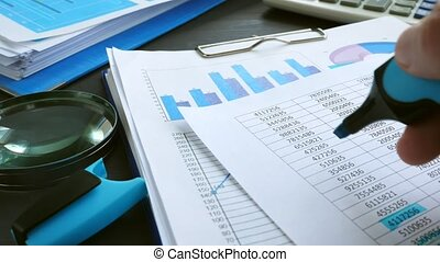 Financial audit. Hand is checking with marker list of...