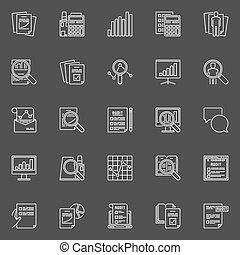 Financial audit line icons