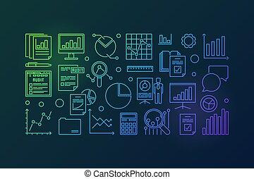 Financial audit vector colorful outline illustration