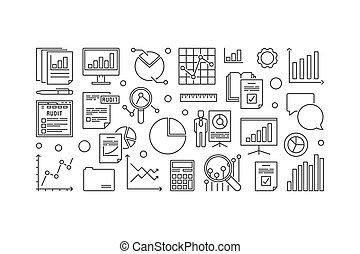 Financial audit vector minimal outline illustration