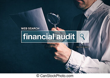 Financial audit web search bar glossary term on internet