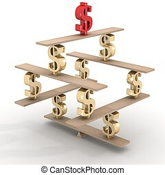 Financial balance. Stable equilibrium. 3D image.