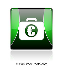 financial black and green square web glossy icon