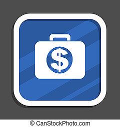 Financial blue flat design square web icon
