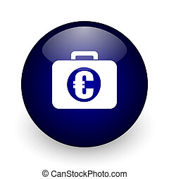 Financial blue glossy ball web icon on white background. Round 3d render button.