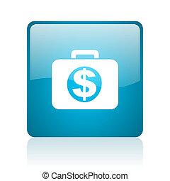 financial blue square web glossy icon