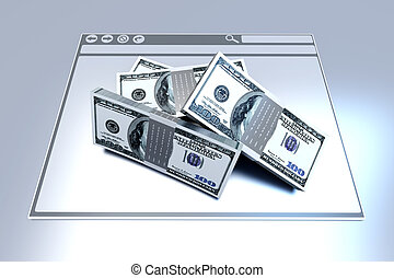 Financial Browser - Dollars in a Browser window. 3D rendered...