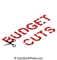 financial budget cuts - Conceptual representation of...