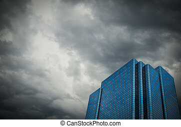 Financial Building With Stormy Sky