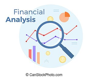 Financial Business analysis vector flat illustration. Concept of accounting, analysis, audit, financial report. Auditing tax process. EPS 10