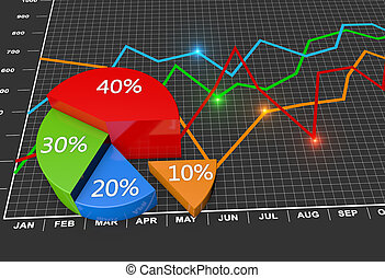 Financial business chart and graphs