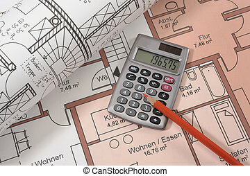 financial calculator on blueprint - financial calculator and...