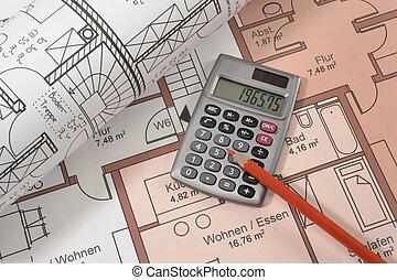financial calculator on blueprint - financial calculator and...