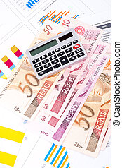 financial chart and datasheet. Brazilian money.
