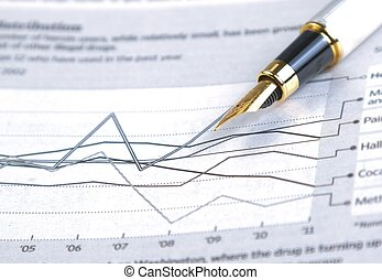 financial chart and graph near business fountain pen