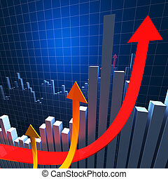 financial chart background - 3d image of growing arrows and...