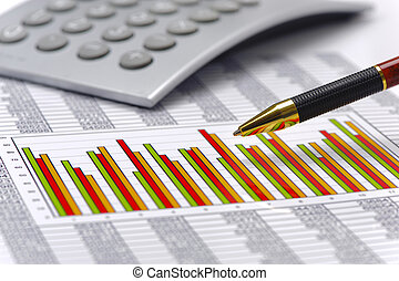 financial chart on table of data