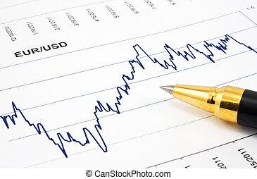 financial chart with ballpoint pen
