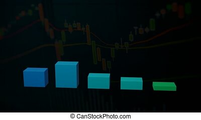 financial chart with uptrend line candlestick graph