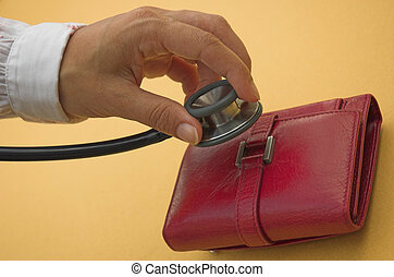 Financial check - Purse and medical stethoscope illustrate...