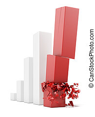 financial collapse concept isolated on a white background. 3d render