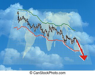 Illustration showing the global financial collapse