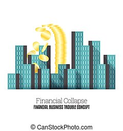 Vector illustration of heaps of gold coins collapsing in the middle of the city.