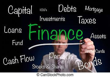Financial Concept - A businessman drawing a financial...