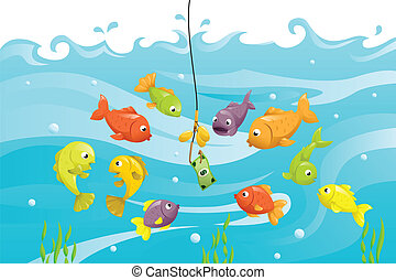 Financial concept - A vector illustration of a bunch of fish...