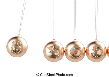 financial concept, currency symbols pendulum. 3D rendering