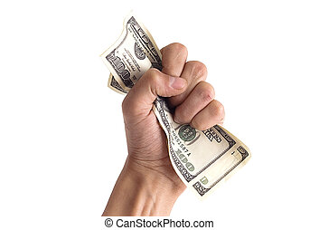financial concept - hand grabbing dollars isolated on white