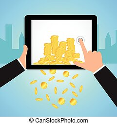 Financial Concept Make Money from internet whit tablet