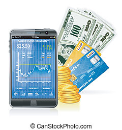Financial Concept Make Money on the Internet with Mobile Smart Phone (Stock Market Application), Dollar Bills, Credit Cards and Coins