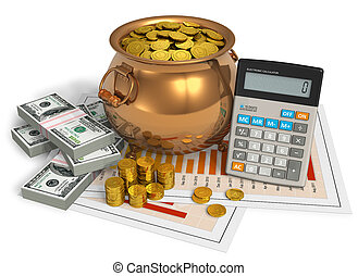 Financial concept: pot of gold, calculator and dollars on...