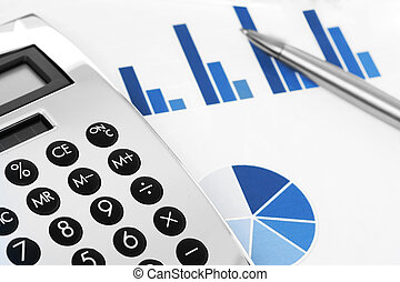 Financial concept. Stock chart with calculator and pen