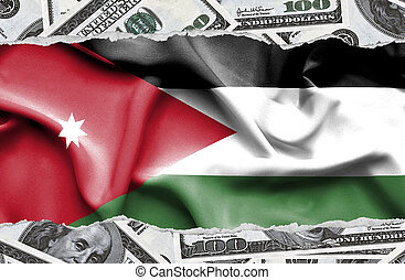 Financial concept with banknotes of US currency around national flag of Jordan
