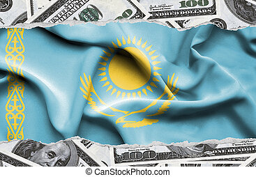 Financial concept with banknotes of US currency around national flag of Kazakhstan
