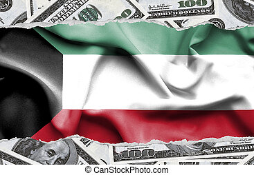 Financial concept with banknotes of US currency around national flag of Kuwait