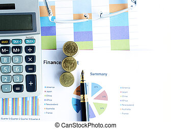 Financial concept with money coins stack and business fountain pen and calculator and eyeglasses and labtop with document chart on desk office backgrounds above