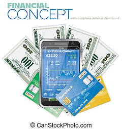 Financial Concept with Touchphone (Stock Market...