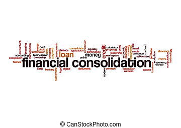 Financial consolidation word cloud concept on white ...