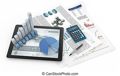 financial consultant charts, 3d illustration
