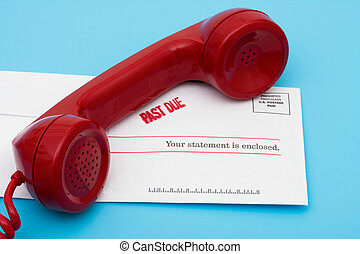 Telephone with overdue bill call for help with your finances