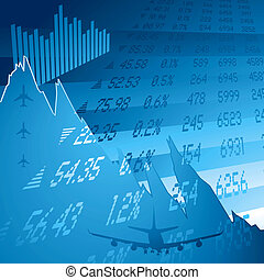 financial crash blue - financial chart showing the credit...
