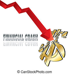 Financial crash with red diagram arrow smashing dollar sign...